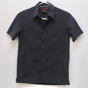 Tony hawk short sleeve button down black shirt